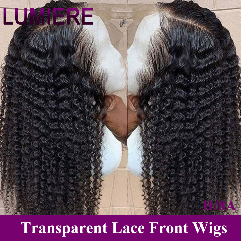 Lumiere Hair Curly 13x4 Lace Front Human Hair Wigs For Black Women Frontal Bob Wig Brazilian Afro Short Long 24 Inch Water Wig