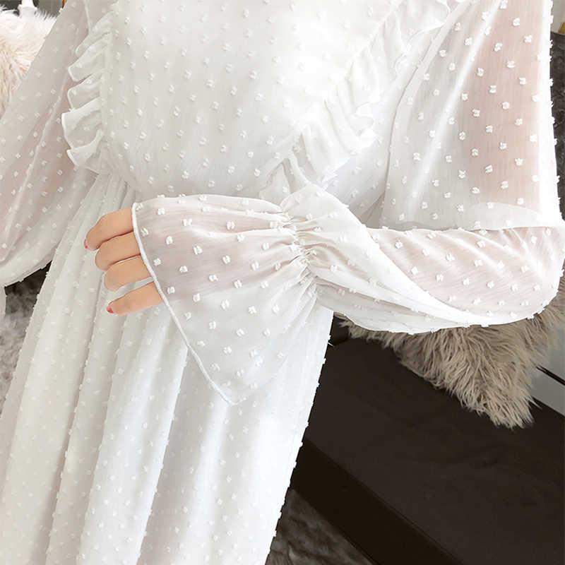 Autunno della molla Delle Donne Abiti In Chiffon 2019 Casual Manica Lunga Vestito Da Partito Increspato Boho di Estate Della Signora Vestito Dalla Spiaggia Bianca Abiti