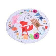 Хлопковый коврик для ползания, игрушка, Круглый экологический мультяшный детский игровой коврик для хранения, детский коврик для ползания, для ползания подстилка коврик