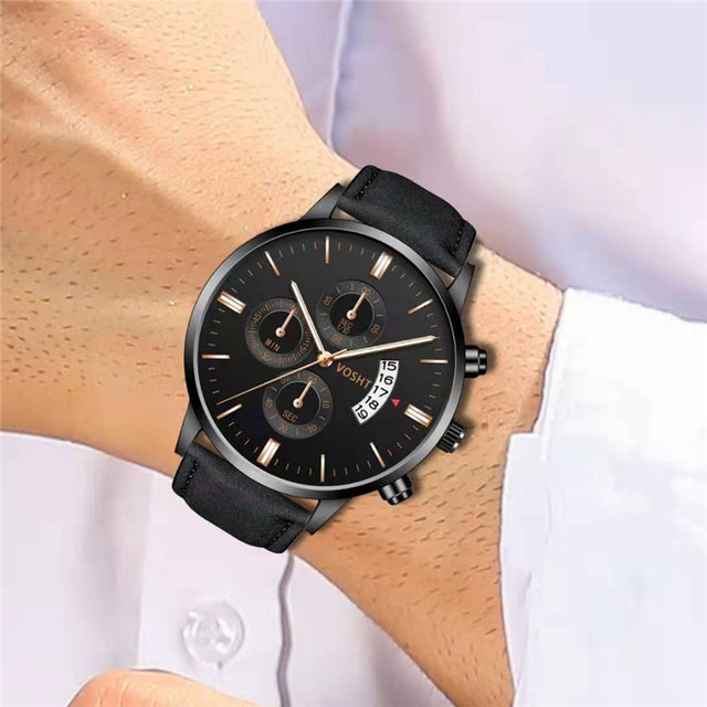 Simple Sport Stainless Steel Case Leather Band Watch 1