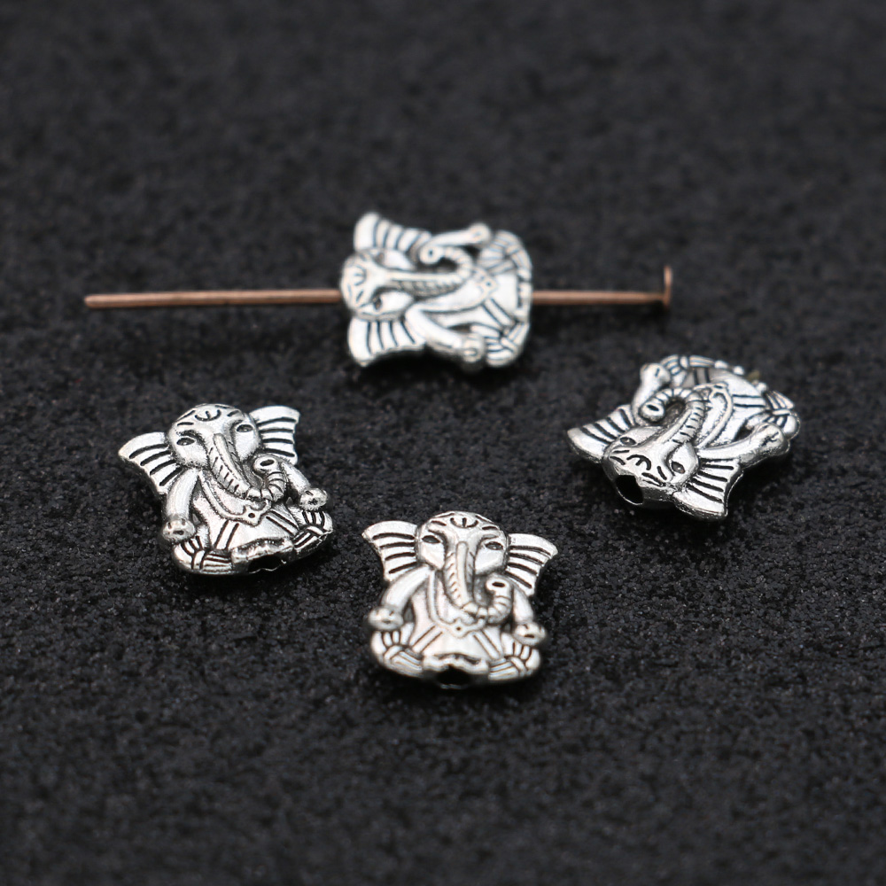 JAKONGO античный посеребренный слон россыпью разделитель бусины для изготовления ювелирных изделий браслет DIY фурнитура 10 мм 20 шт./лот