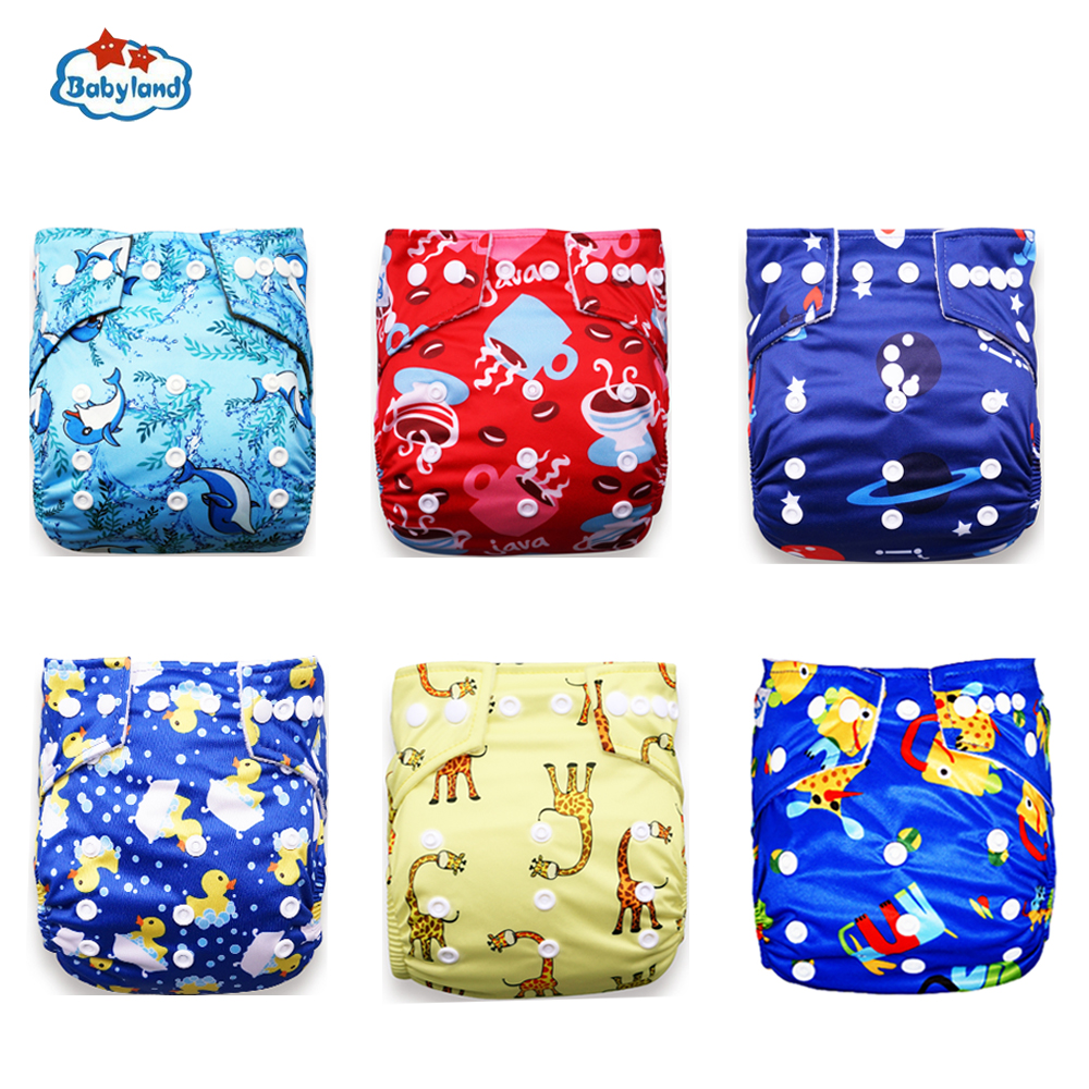 Babyland OEM Friendly Washable Reusable Baby Diaper Infant Nappy 6pcs +Nappy Insert Diaper Absorbents 6pcs For Pocket Diapers