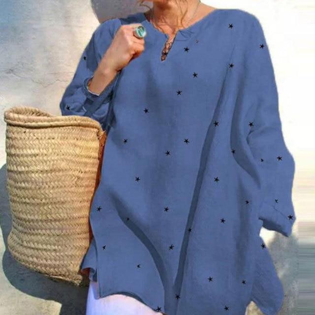 Jocoo Jolee Long Sleeve V Neck Stars Print Loose Blouse Casual Oversized Shirt 2020 New Elegant Tops Ladies Clothing 2