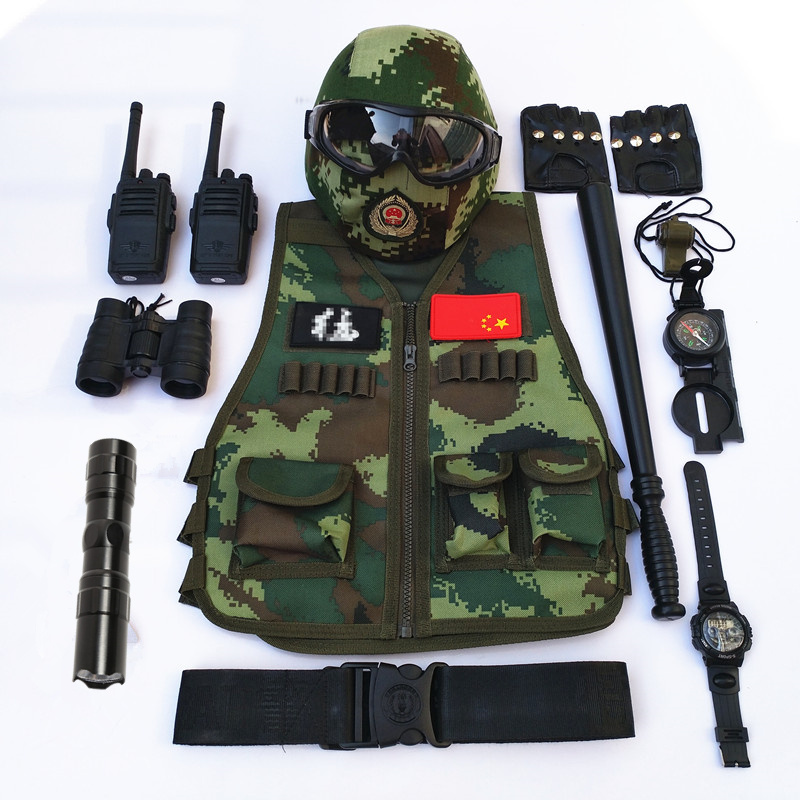 Green Military Vest Swat Cosplay Clothes Kids Game Clothing Special Troops Set Military Equipment Boys Birthday Gift