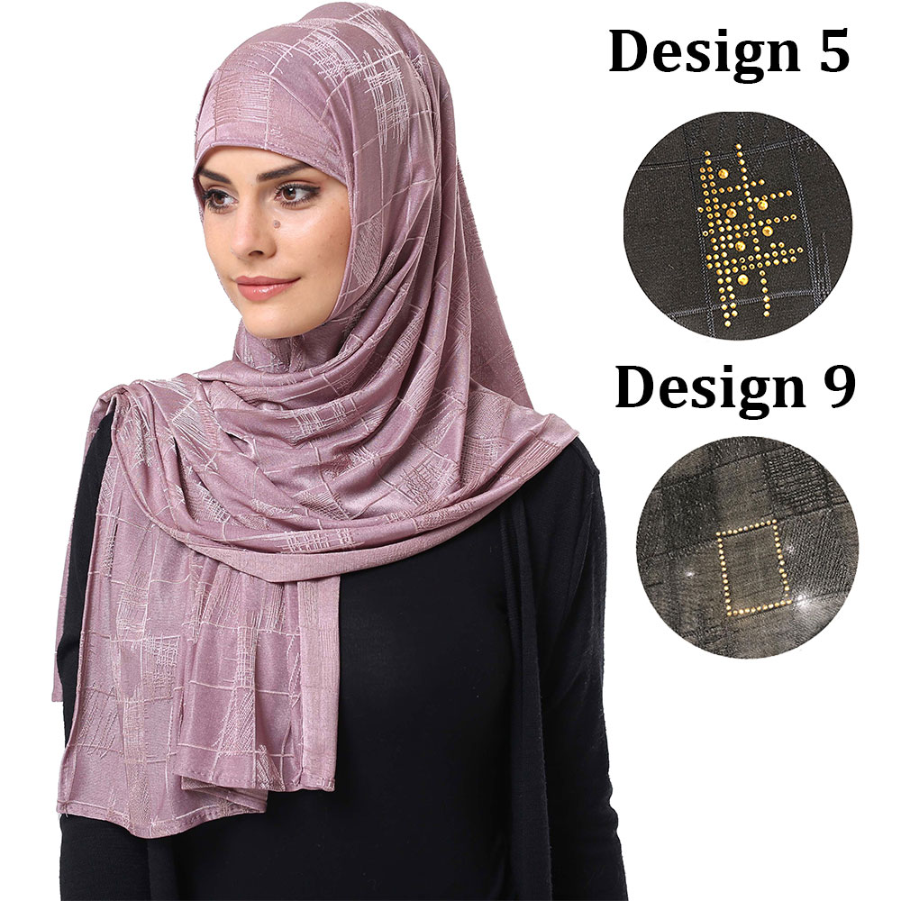 Dbs Design 9 Diamond Crystal Jersey Headscarf Soft  Women Stretchy Jersey Scarf With Stone Hijabs For Netherlands  Muslim Dbs09