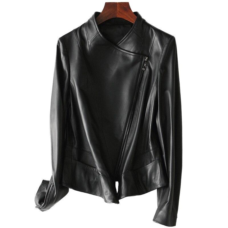 Black Short Leather Jacket Classic Sheepskin Long Sleeves Motorcycle Street-wear Jacket  Genuine Jackets Basic Outerwear Top