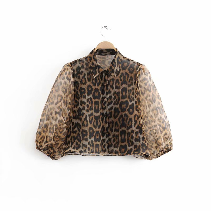 New Spring Women Leopard Print Casual Organza Short Kimono Blouse Shirts Women Lantern Sleeve Blusas Chic Buttons Tops LS6023