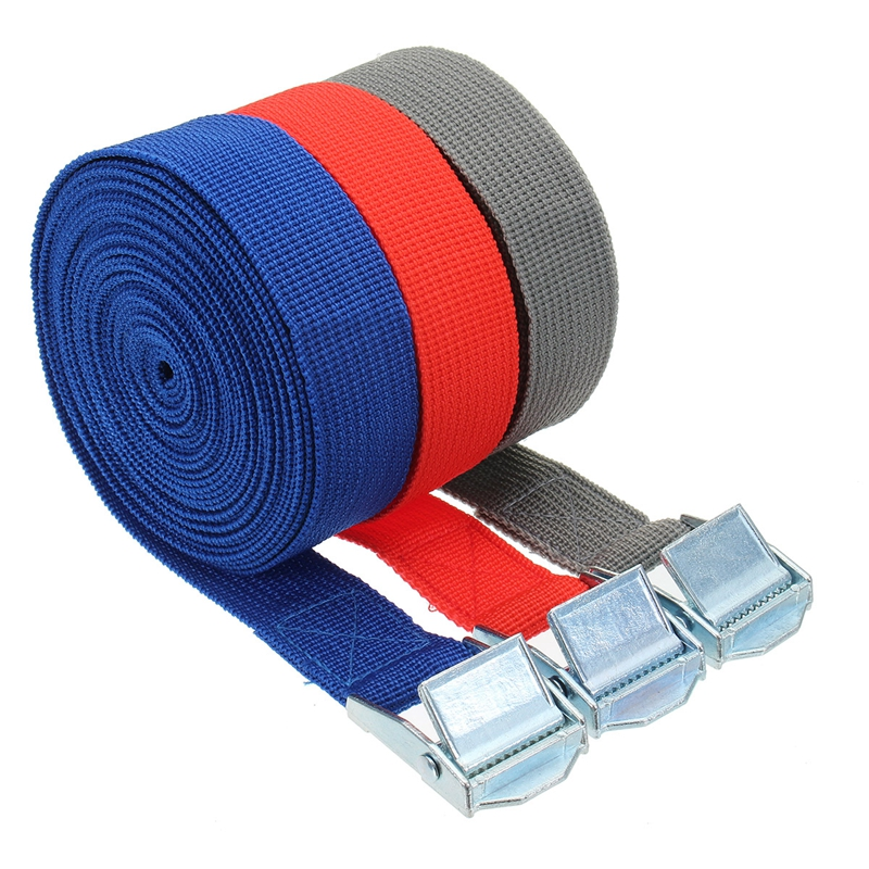 5m X 25mm Car Tension Rope Tie Down Strap Strong Ratchet Belt Luggage Bag Cargo Lashing With Rope Tensioner Metal Buckle Tow