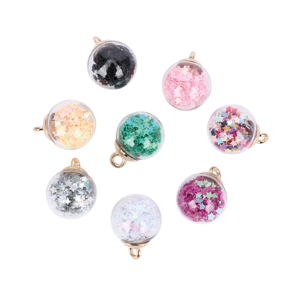 8Pcs 16mm Transparent Ball Charms Pendant Glass Pentagram Star Sequins Jewelry Making Random Color