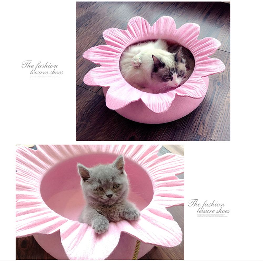 Flower Shaped Felt Pet Cat Bed House Nest Bed For Small Dogs Cats Nest Four Season Warm Sleeping Bed Puppy Mat House in Cat Beds Mats from Home Garden