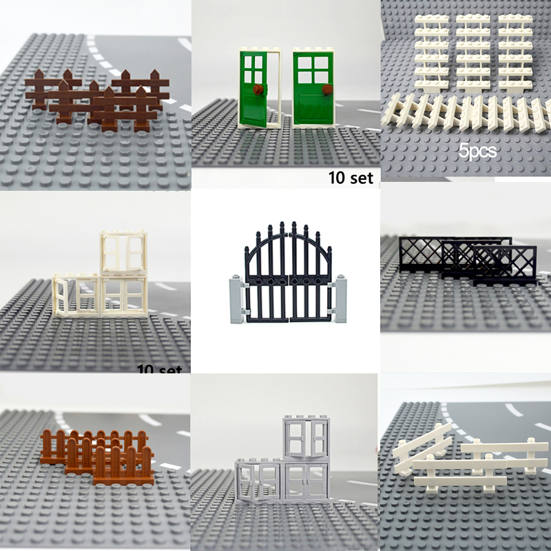 Door windows Accessories Building Blocks City House Fence Stairs Ladder MOC Parts Bricks Toy for kid Compatible All Brands