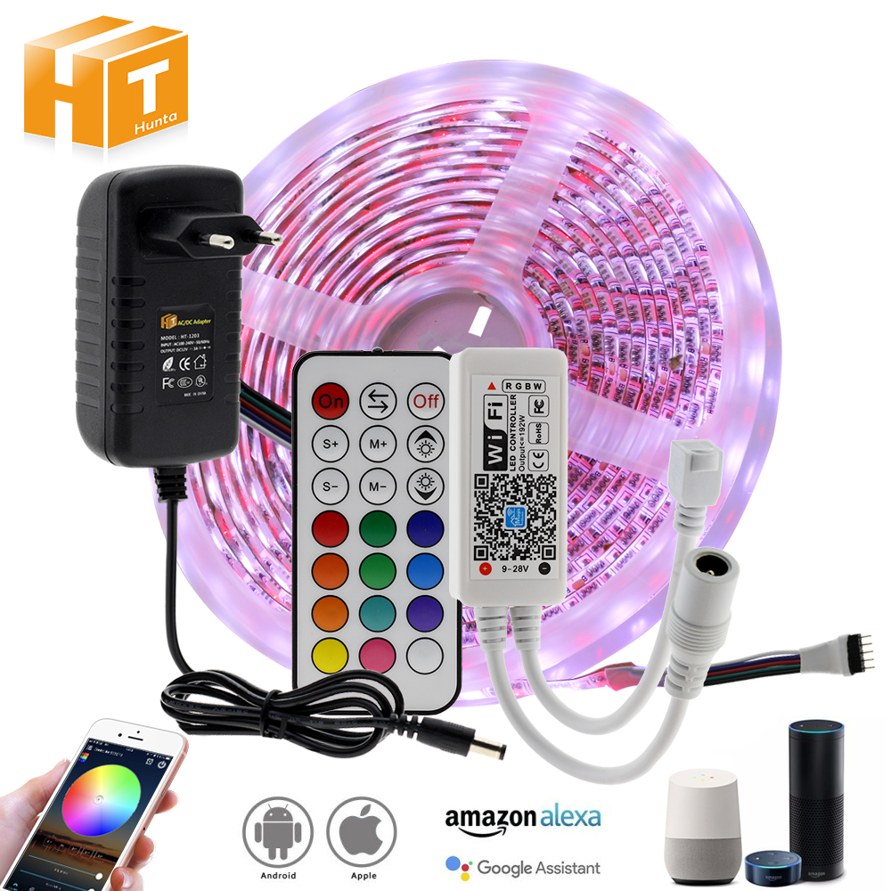 WIFI / Bluetooth RGB RGBW LED Strip Set DC12V LED Strip 5050 5m 300LEDs + WIFI / Bluetooth Controller + Power Adapter