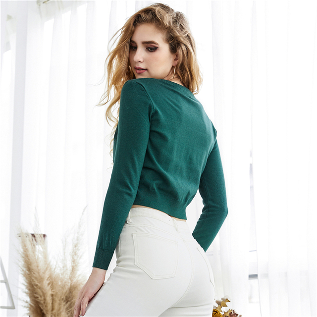 Ailegogo Autumn Winter Women Knitted Sweater Cardigans Single Breated Short Ladies Crop Tops SW7169 2