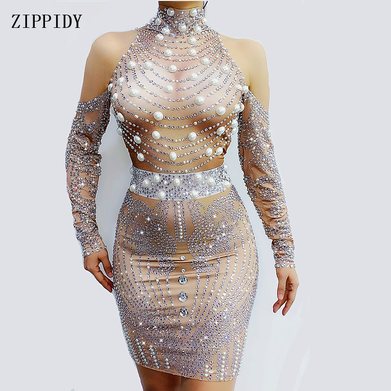 2020 New Design Pearls  Rhinestones Dress Women's Birthday Celebrate Dance Outfit Evening Bar Stage Singer Stretch Dress
