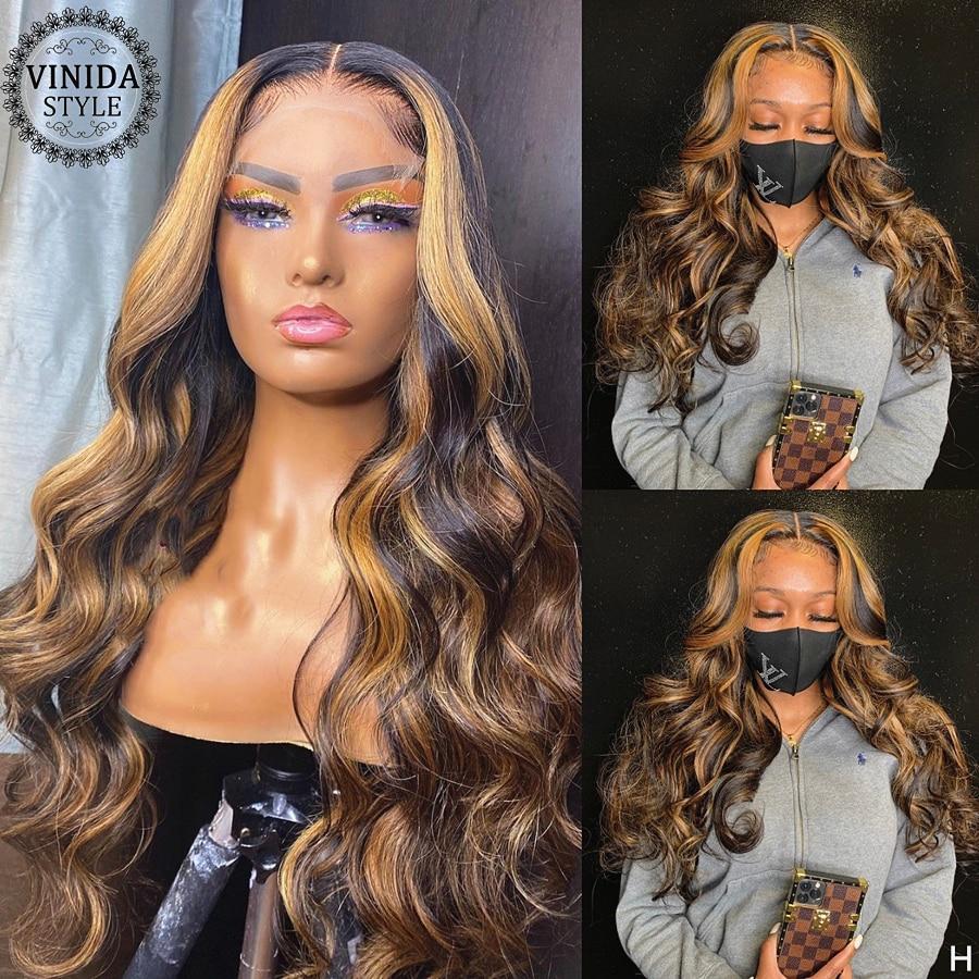 Perruque Lace Front wig non-remy naturelle – VINIDA, cheveux ondulés, 13x6 T, partie en T, avec Baby Hair, Closure Top, 150% de densité