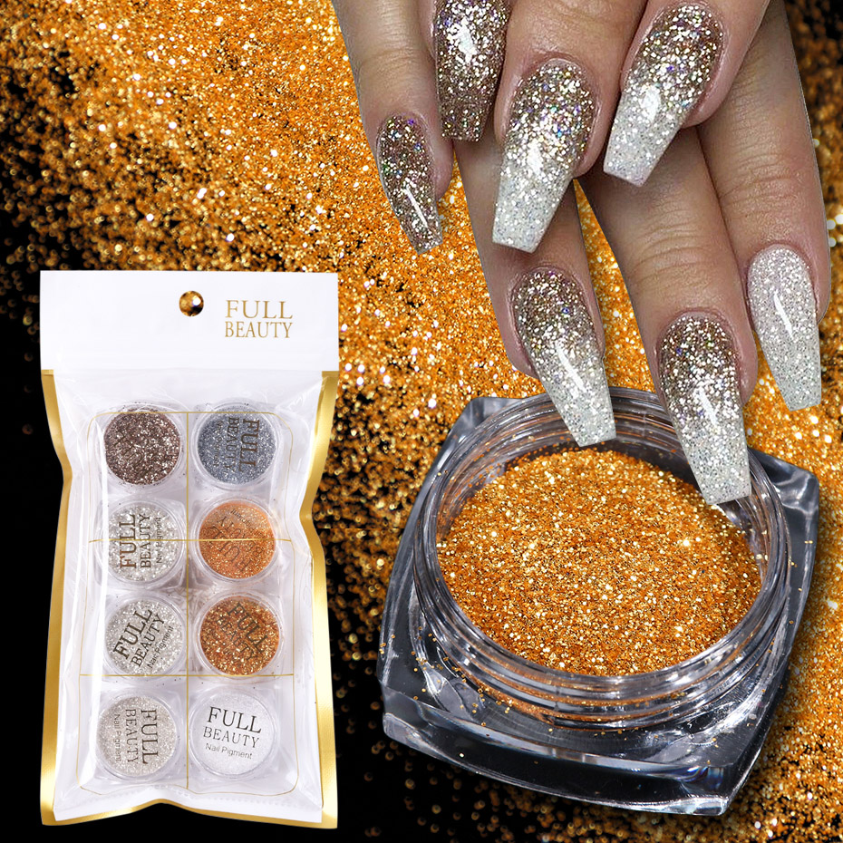 8pcs Mini Round Shining Nail Glitter Set Powder Laser Sparkly Ultrathin Sequins Chrome Powder For Nail Art Decoration JI1506 15-in Nail Glitter from Beauty & Health