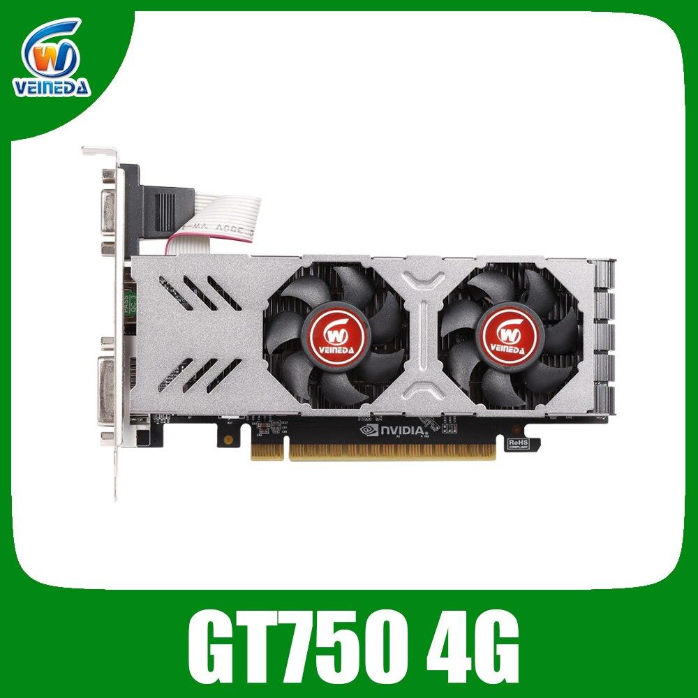 Placa de vídeo original gpu gtx750 4gb gddr5 placa gráfica instantkill gtx650ti, hd6850, r7 350 para jogos de nvidia geforce