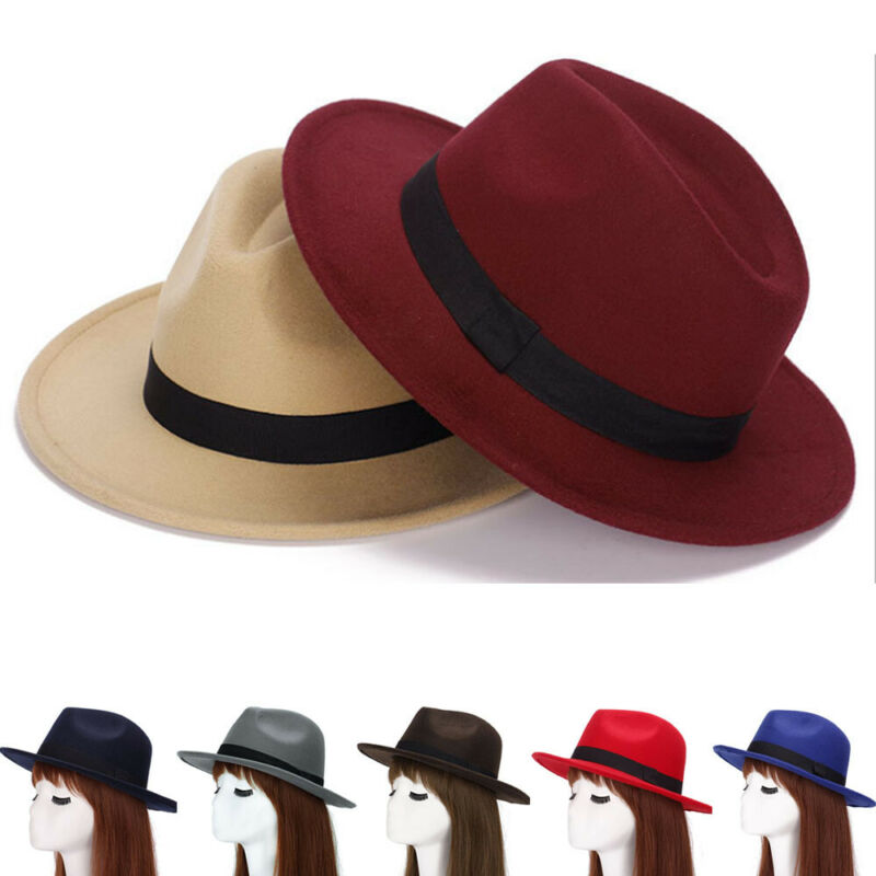 New Classic Solid Color Jazz Cap Wide Brim Church Derby Flat Autumn Winter Top Hat Sunhat Vintage Femme Caps Fedoras Flat Top image