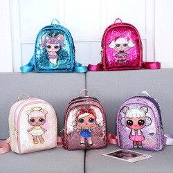 LOL Surprise Doll, новинка, Детский рюкзак с блестками, с двойной молнией, маленькая, свежая, милая сумка для детей, праздничный подарок, 2S05