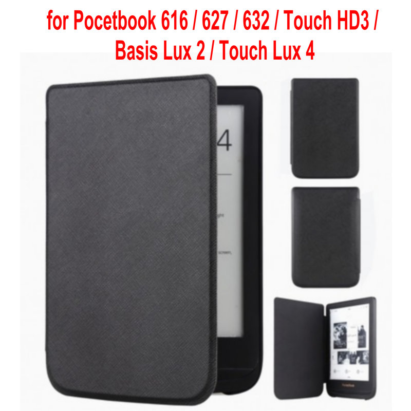 case cover for <font><b>Pocketbook</b></font> <font><b>616</b></font>/627/632 Ultra Slim magnetic Smart PU cover for <font><b>PocketBook</b></font> Touch Lux 4/Basic Lux 2/Touch HD 3 case image