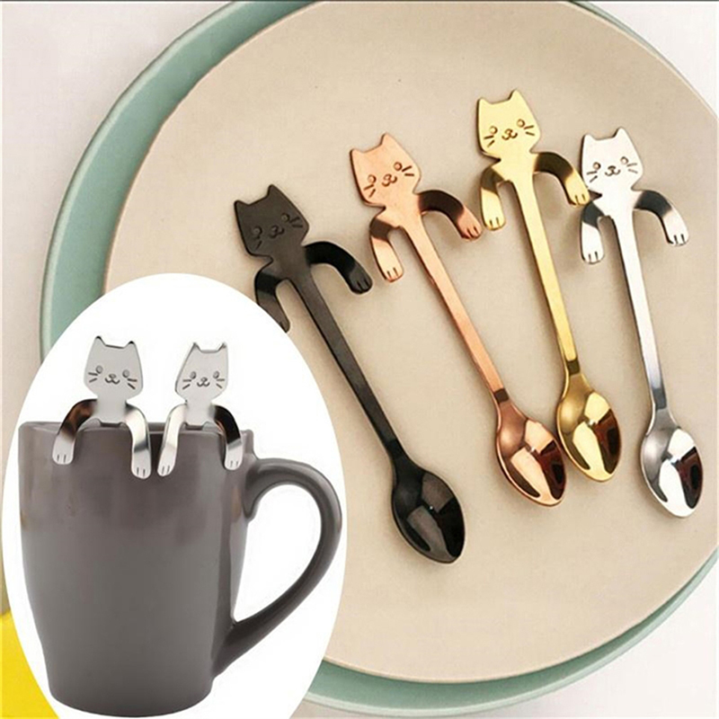 Colorful Dessert Ice Cream Tea Spoon M  Drink Cafe Scoop Small Mini 304 Stainless Steel Cat Kitty Coffee Stirring Spoon