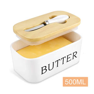 Sealing-Box Dish-Container Butter-Plate Knife Storage-Tray Cheese Wood-Lid Ceramic Nordic-Butter