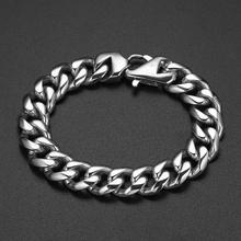 цена на 13/15mm Men's Bracelet Silver 316L Stainless Steel Round Curb Cuban Link Chain Bracelets Male Jewelry Hot Gift for Men 7-10