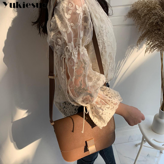 Spring Autumn New Girl Chiffon shirt Fashion embroidered lace Tops Elegant Flare sleeve Casual Women blouse Blusa womens blouses 4