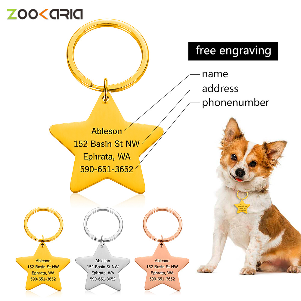 Personalized Dog Tags Engraved Cat Puppy Pet ID Name Phone Number Collar Tag Pendant Pet Accessories Pentagram Dog Tag