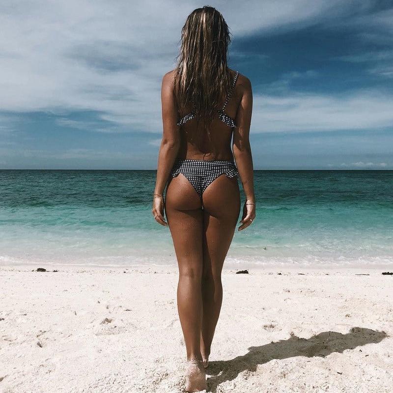 H038e692b42e24436b66d38f9093d2200b Women Plaid Print Swimsuit Sexy Ruffle Swimwear Brazilian Bathing Suit Bikinis Set Female Summer Halter Beach Wear Biquini