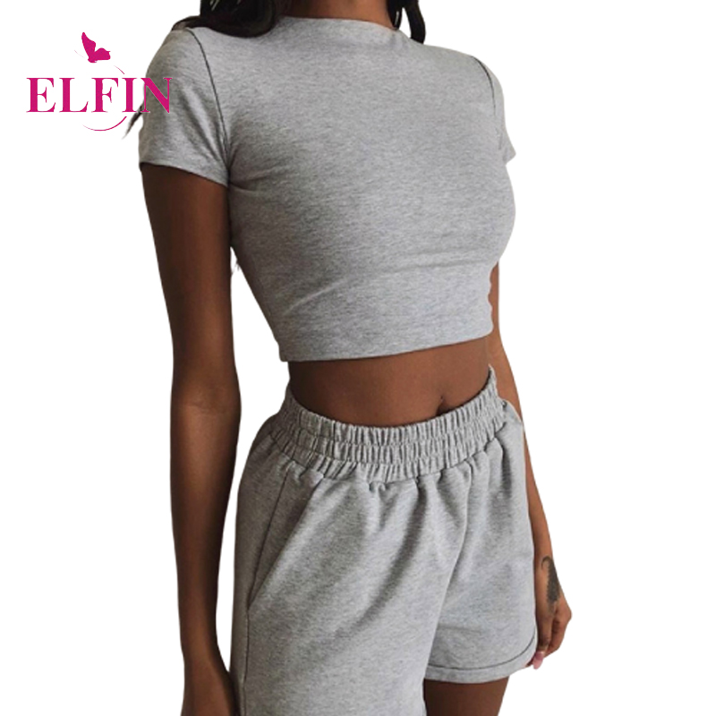 Women Summer Sexy Two Pieces Set Tracksuit Solid Casual Slim Short Sleeve Crop Tops And Elastic Waist Shorts SJ5993R