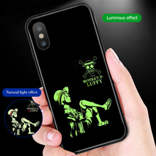 ciciber One Piece Luffy Phone Case For iphone 11 Pro Max X XR XS MAX Luminou Glass Cover for Iphone 7 8 6 6s Plus Fundas Coque