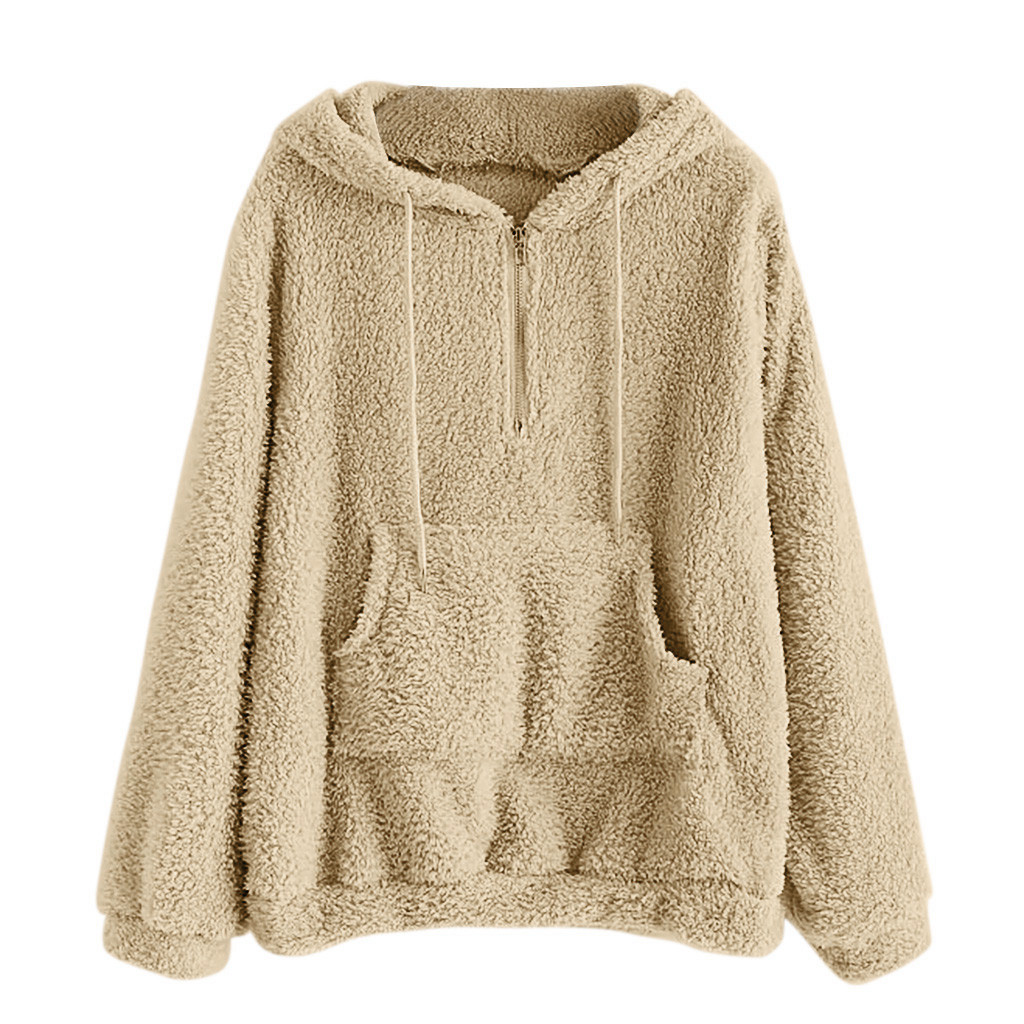 JAYCOSIN Ladies Fashion Solid Color Soft Plush Drawstring Sweatshirt Hooded Zipper Sports Sweatshirt Autumn Winter Models