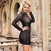 Comeondear Bodycon Dress Women Diamonds Clubwear Sexy Dress for Sex Transparent Long Sleeve  Jurken Zomer 2020 RB80918 3