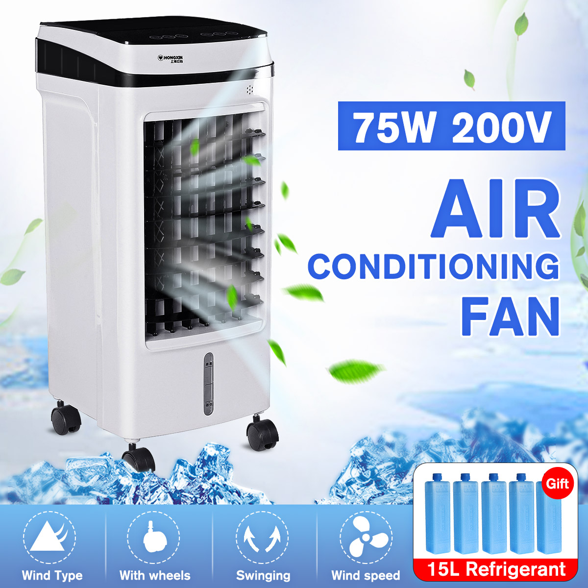 Home Mobile Air Conditioning Fan Portable <font><b>15L</b></font> <font><b>Tank</b></font> Humidifier Cooler 3 Fan Modes Sleep Timer 220V 75W Bedroom Living Room office image