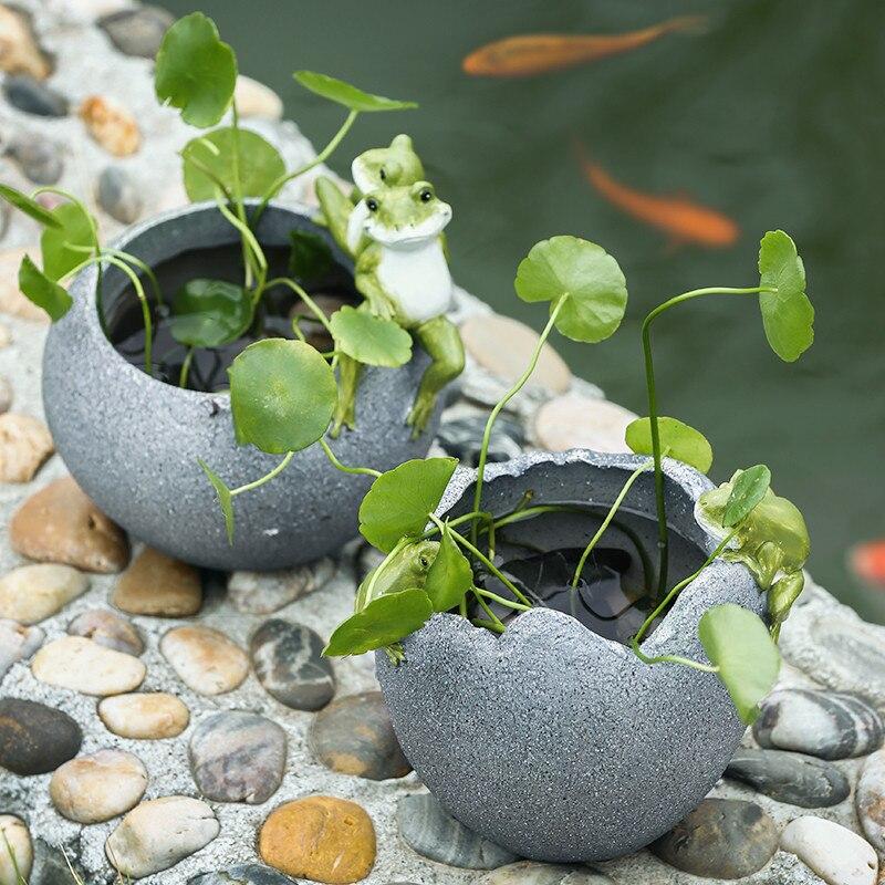 Style nord européen créatif cochon grenouille pot de fleurs pièces herbe Epipremnum Aureum Animal résine bol Lotus nénuphar bonsaï D