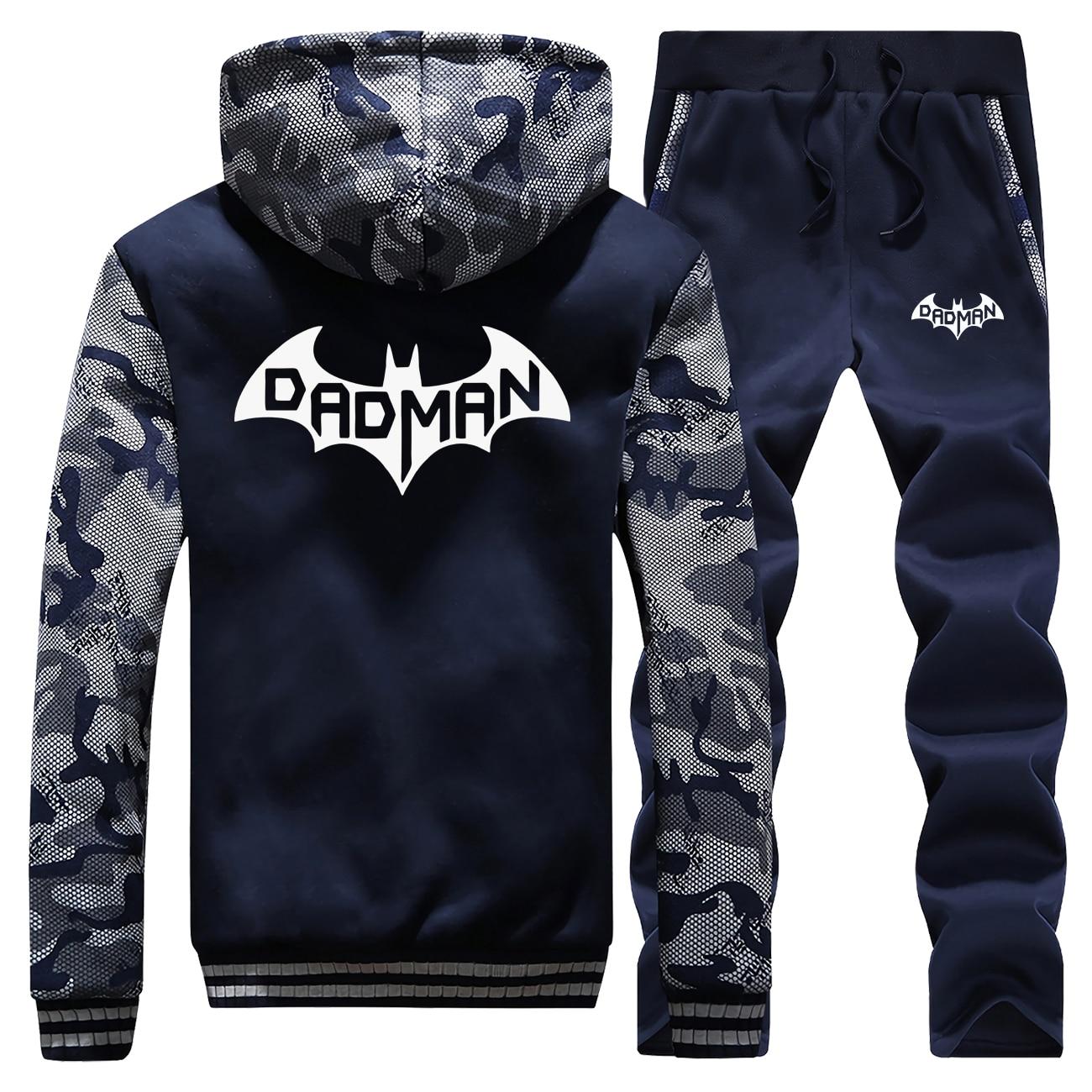 Badman Batman Tracksuits Jacket Pant Set Men  Superhero Sportsuits Sweatshirt Hoodies Sweatpant Suit 2 PCS Camo Coat Sportswear