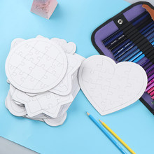 Blank Coloring Puzzle Paper White Mold Board Children DIY Production Puzzle Coloring Graffiti Painting Children Educational Toys(China)
