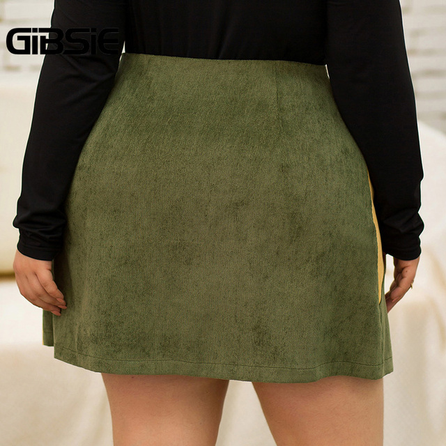 GIBSIE Autumn winter Fashion Color Block Women Skirt Plus Size O-ring Zipper High Waist Skirts Female Casual Office A-line Skirt 2