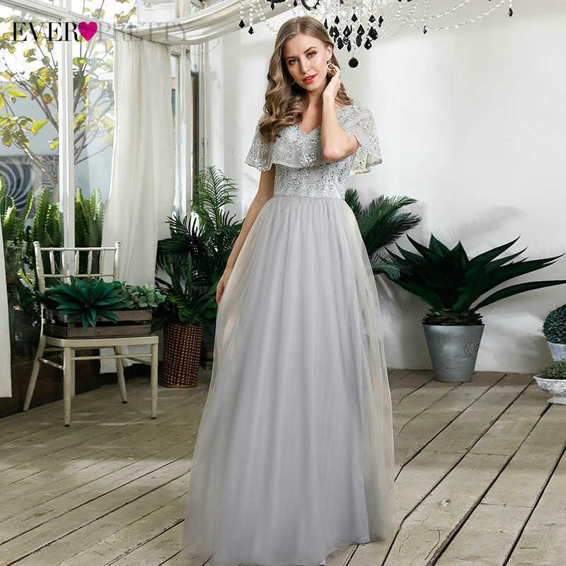 Ever Pretty серые платья для выпускного вечера 2020 Для женщин блеск v-образным вырезом Тюль Кружева короткий рукав Длинные вечерние платья EP00620 Robe De Soiree