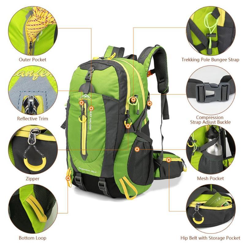 Sac à dos de sports en plein air pour homme 40L, pratique pour les voyages d'excursion et les randonnées, étanche à l'eau 4