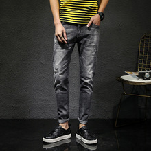Summer New Men's Jeans Hole Slim Stretch Thin feet pants Fashion Korean Style Straight Men's trousers new style jeans slim stretch jeans female trousers autumn new cross stitch fight off pants feet