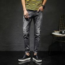 Summer New Men's Jeans Hole Slim Stretch Thin feet pants Fashion Korean Style Straight Men's trousers цены онлайн