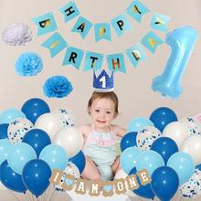 1st Birthday Party Decoration Foil Number Banner Balloons First Baby Shower Boy 1st 1 One Year Supplies Background Layout(China)