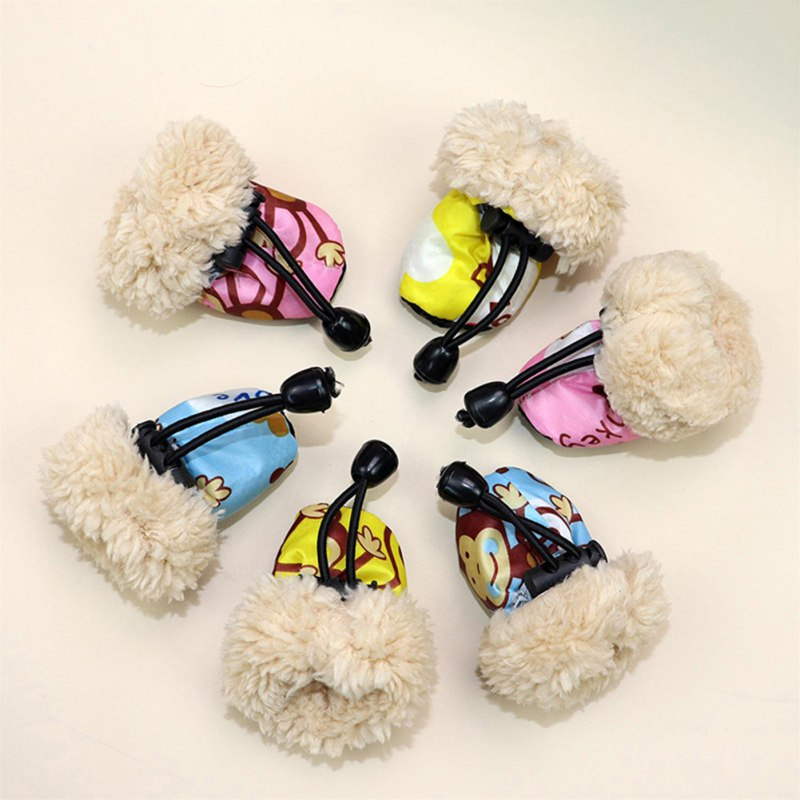 Winter Soft-soled Pet Dog Shoes Fleece Liner Cartoon Waterproof Anti Slip Shoes For Dogs
