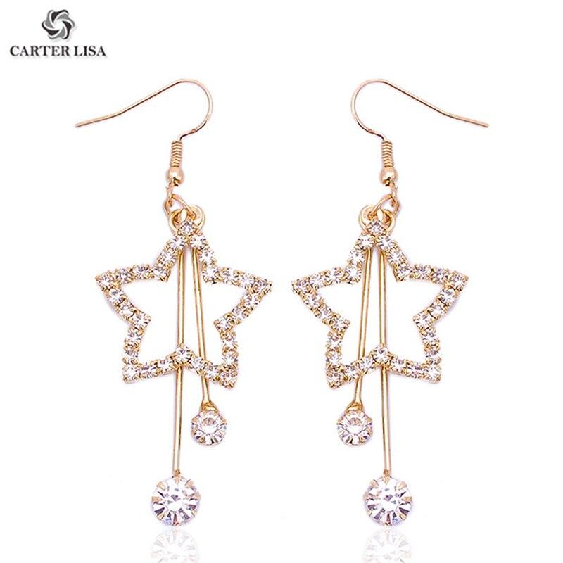 CARTER LISA Korea Style Long Gold Hollow Pentagram Rhinestone Pave Drop Dangle Statement Earings For Women Boho Fashion Jewelry