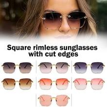 2021 새로운 광장 무테 선글라스 여성 여성 패션 태양 안경 남성 uv400에 대 한 럭셔리 브랜드 디자이너 안경 음영 Oculos