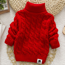 Girl Sweater Tops Pullover Turtleneck Tricots Warm IENENS Baby Kids Winter Solid-Color