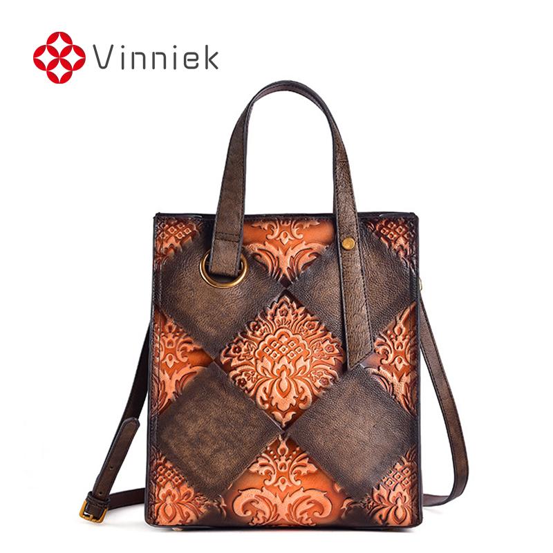 2020 New Genuine Leather Handmade Shoulder Bag Large Capacity Retro Luxury Handbags Women Bucket Bags Embossing Crossbody Bag