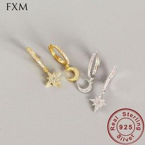 Асимметричные маленькие миниатюрные серьги-кольца huggie, с шармом, серебро 925 пробы, для женщин, серьги-кольца со звездой и луной, золотистого ...